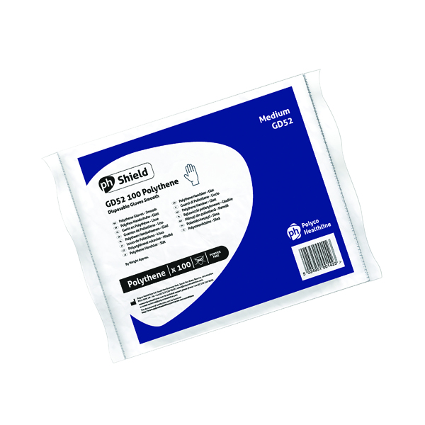 Shield Clear Polyethylene Gloves in Bags Medium (Pack of 100) GD52