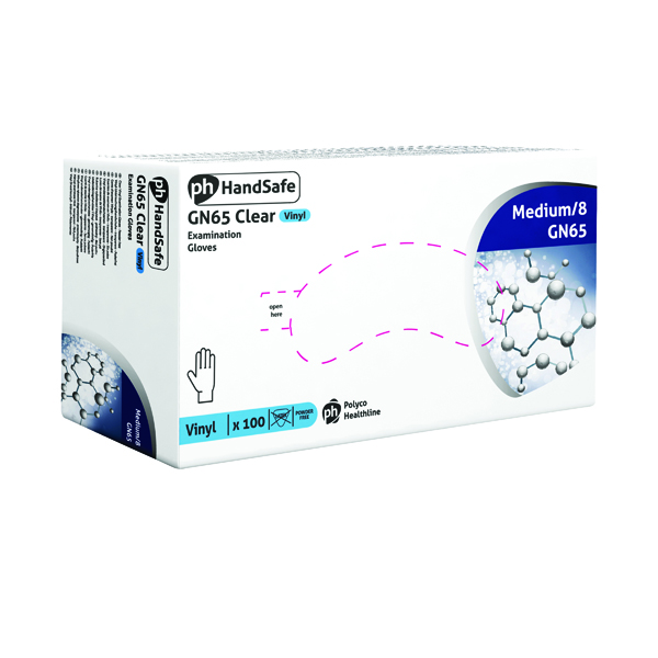 Handsafe Powder-Free Clear Medium Vinyl Gloves (Pack of 100) GN65
