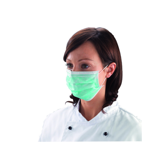 Shield Non-Woven 3-Ply Green Disposable Face Mask (Pack of 50) DK01GL