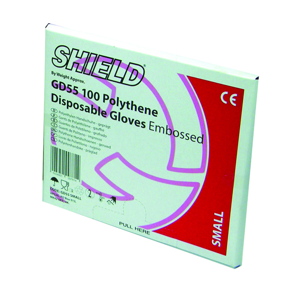 Shield Embossed Polythene Gloves For Black Dispenser Medium (Pack of 100) GD55