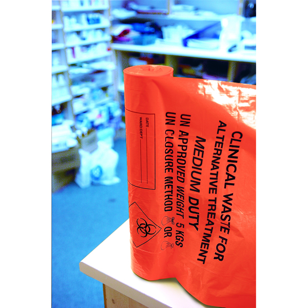 Clinical Waste Sack Medium Duty Orange (Pack of 200) AT25/M111