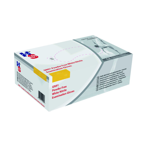 Handsafe Nitrile Powder Free Gloves Large White (Pack of 2000) GN92L