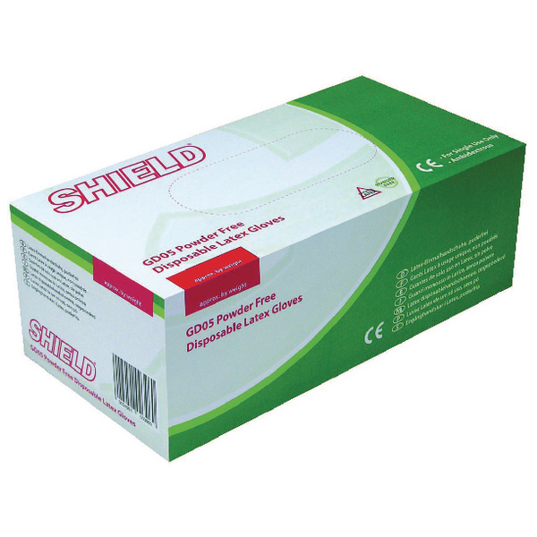 Shield Powder Free Latex Gloves Pk100x10 [Hea01303] Size XL