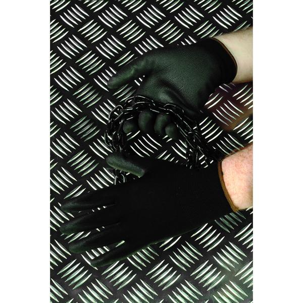 Polyco GH100 PU Coated Size 9 Nylon Glove Black GH0009
