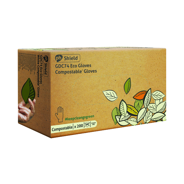 Shield Compostable Disposable Gloves Small (Pack of 2000) GDC74/S