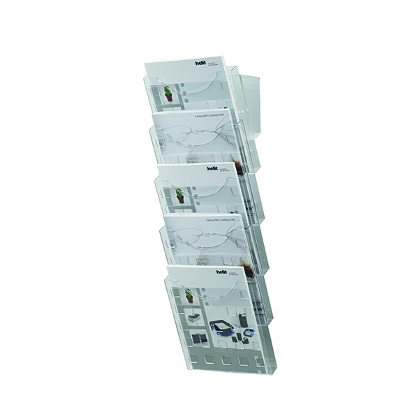 Helit 5 Pocket Literature Display Unit A4 (Dimensions: 214 x 150 x 578mm) H61031