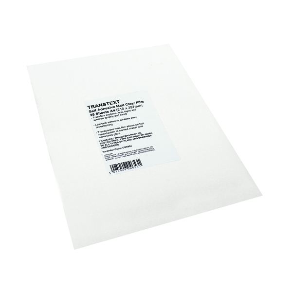 Transtext Self-Adhesive Clear A4 Film 210mmx297mm (Pack of 25) UG6904