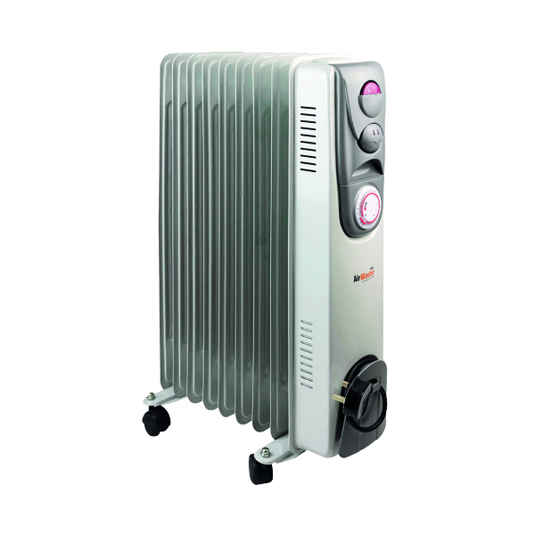 Oil Filled Radiator 2kW Timer Control White (Variable thermostat with timer control) CR2T