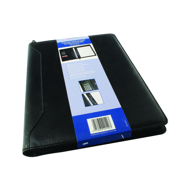 Monolith Leather Look Conference Folder With A4 Pad and Calculator Black 2914