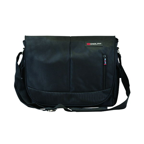 Monolith Courier Messenger Bag w/Pocket for iPad or Netbook Black 3203