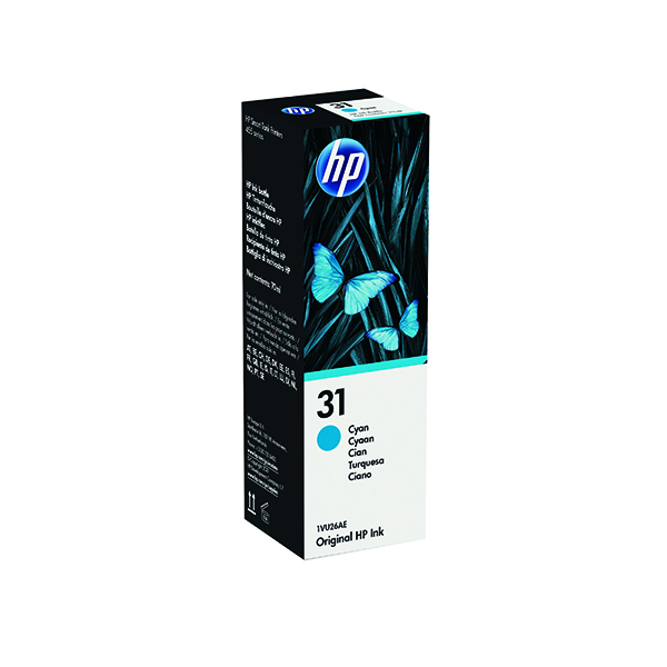 HP 31 Cyan Ink Bottle (70ml Capacity) 1VU26AE