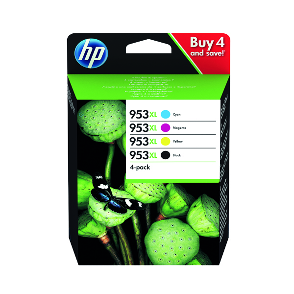 HP 953XL HY Original Ink Cartridges CMYK (Pack of 4) 3HZ52AE