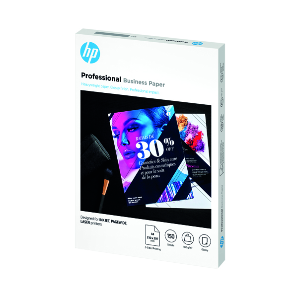 HP Professional Business Paper Glossy 180gsm A4 150 Sheets 3VK91A