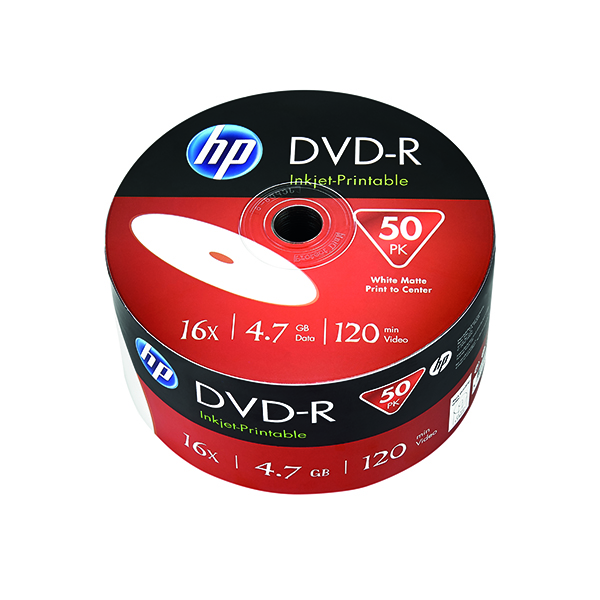 HP DVD+R Inkjet Print 16X 4.7GB Wrap (Pack of 50) 69304
