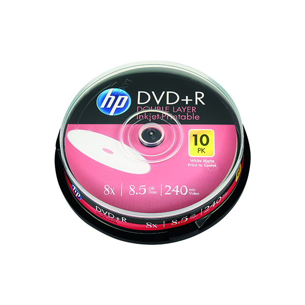 HP DVD+R DL Inkjet Print 8X 8.5GB Spindle (Pack of 10) 69306