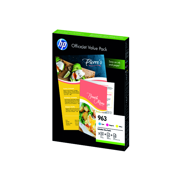 HP 963 Cyan/Magenta/Yellow Ink Cartridge and Paper A4 Office Value Pack (Pack of 125) 6JR42AE