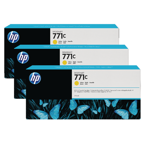 HP 771C Yellow Designjet Ink Cartridge (Pack of 3) B6Y34A
