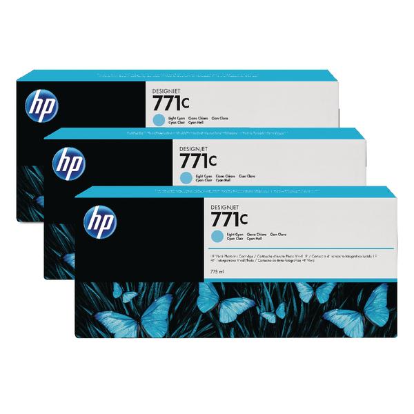 HP 771C Light Cyan Designjet Ink Cartridge (Pack of 3) B6Y36A