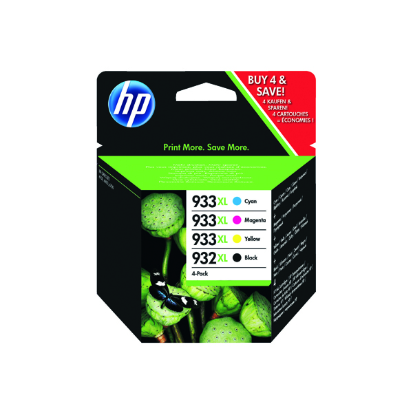 HP 932XL Black /933XL Cyan/Magenta/Yellow High Yield Ink Cartridges (Pack of 4) C2P42AE