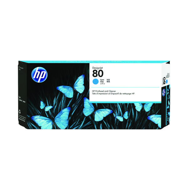 HP 80 Cyan Printhead/Cleaner (2,200 Page Capacity) C4821A