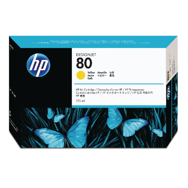 HP 80 Yellow Inkjet Cartridge 175ml C4873A