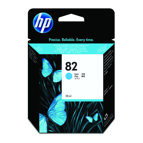 HP 82 Cyan Inkjet Cartridge (High Yield, 69ml, 1,430 Page Capacity) C4911A
