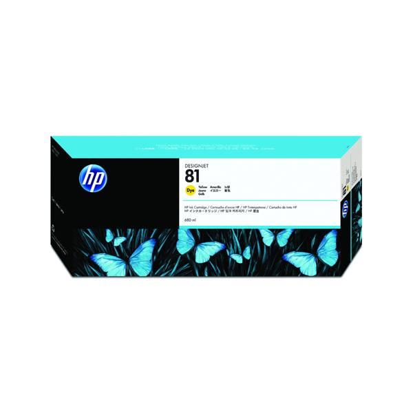 HP 81 Yellow Inkjet Cartridge Dye Ink C4933A