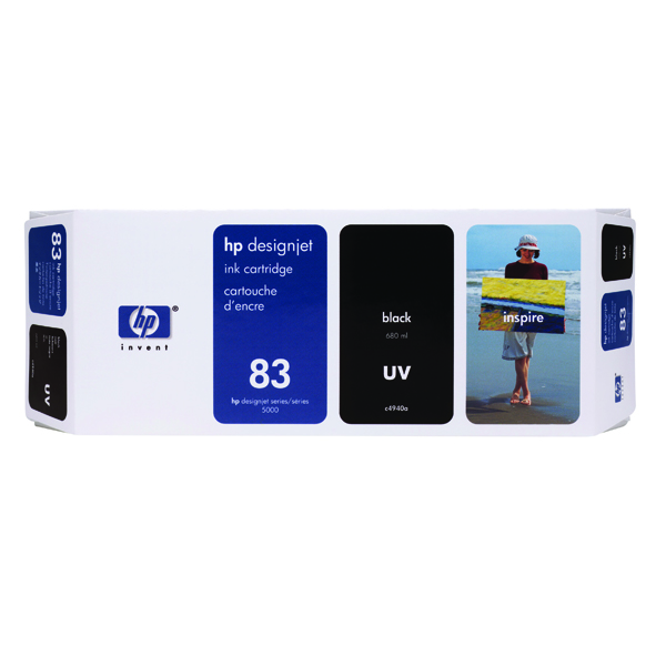 HP 83 Black UV Inkjet Cartridge C4940A