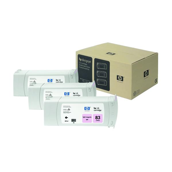 HP 83 Light Magenta DesignJet UV Ink Cartridges (Pack of 3) C5077A