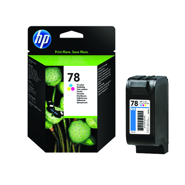 HP 78 Cyan/Magenta/Yellow Inkjet Cartridge (Capacity: 19ml) C6578D