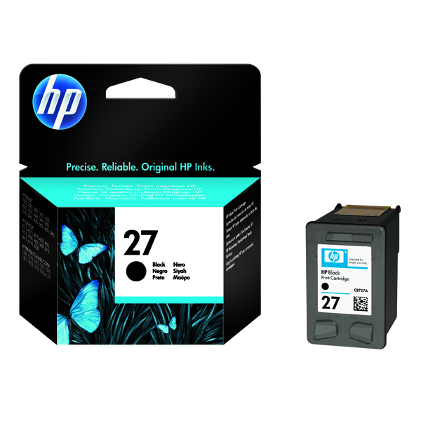 HP 27 Black Inkjet Cartridge (Standard Yield, 280 Page Capacity) C8727AE