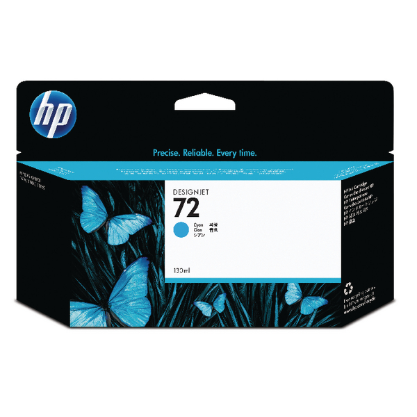 HP 72 Cyan Ink Cartridge (High Yield, 130ml Capacity) C9371A