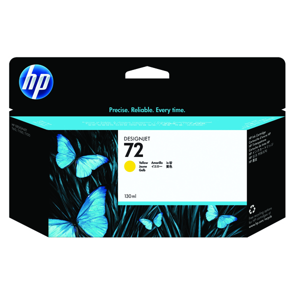 HP 72 Yellow Ink Cartridge (High Yield, 130ml Capacity) C9373A