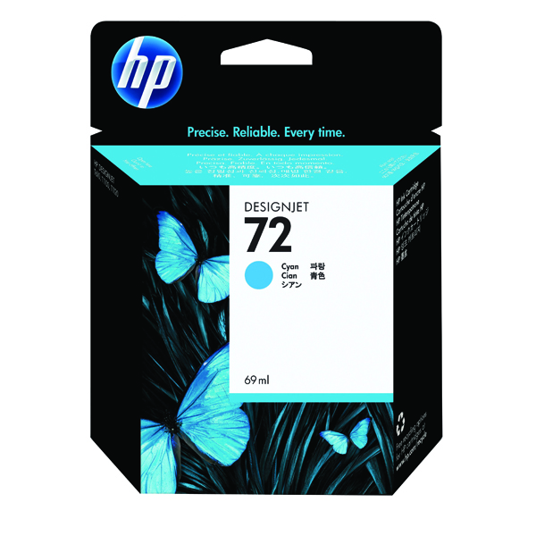 HP 72 Cyan Ink Cartridge (Standard Yield, 69ml Capacity) C9398A