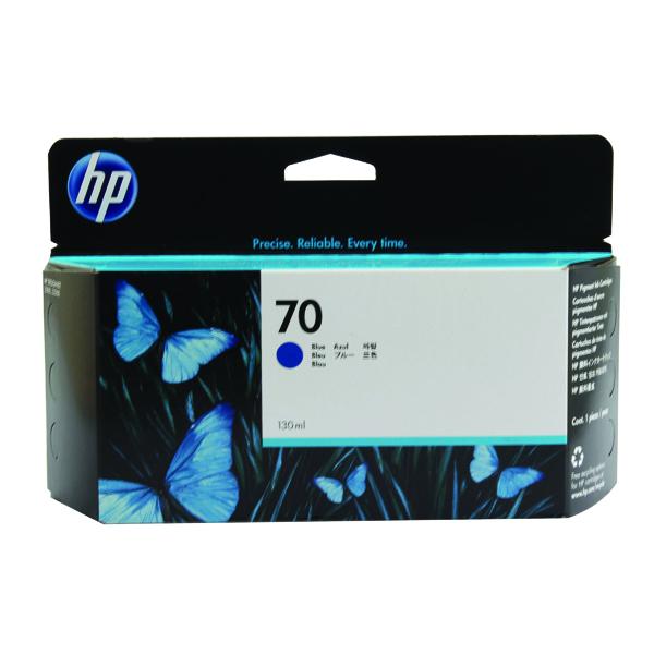 HP 70 Blue Inkjet Cartridge (Standard Yield, 130ml, 1,650 Page Capacity) C9458A