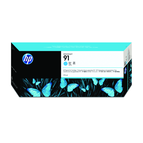 HP 91 Cyan Inkjet Cartridge (Standard Yield, 775ml Capacity) C9467A