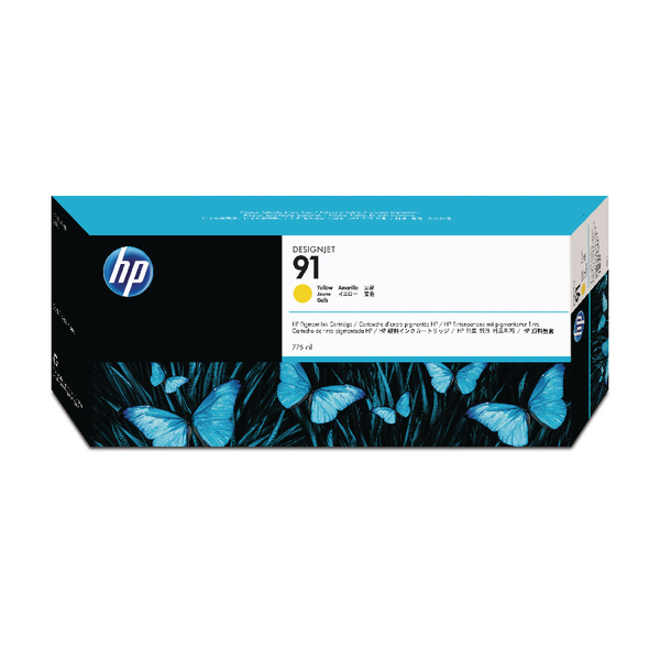 HP 91 Yellow Inkjet Cartridge (Standard Yield, 775ml) C9469A
