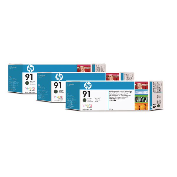 HP 91 Matte Black Inkjet Cartridge (Pack of 3) C9480A