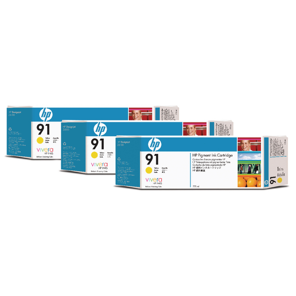 HP 91 Yellow Inkjet Cartridge Tri-Pack C9485A