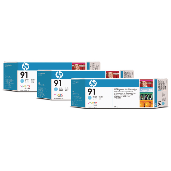 HP 91 Light Cyan Inkjet Cartridge (Pack of 3) C9486A