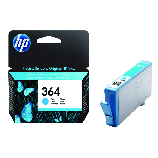 HP 364 Cyan Inkjet Cartridge (Standard Yield, 300 Page Capacity) CB318EE