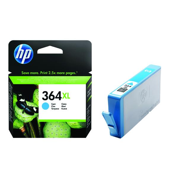 HP 364XL High Yield Cyan Inkjet Cartridge (750 Page Capacity) CB323EE