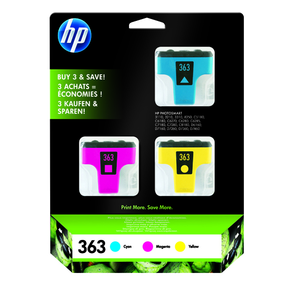 HP 363 Cyan/Magenta/Yellow Inkjet Cartridge (Pack of 3) CB333EE