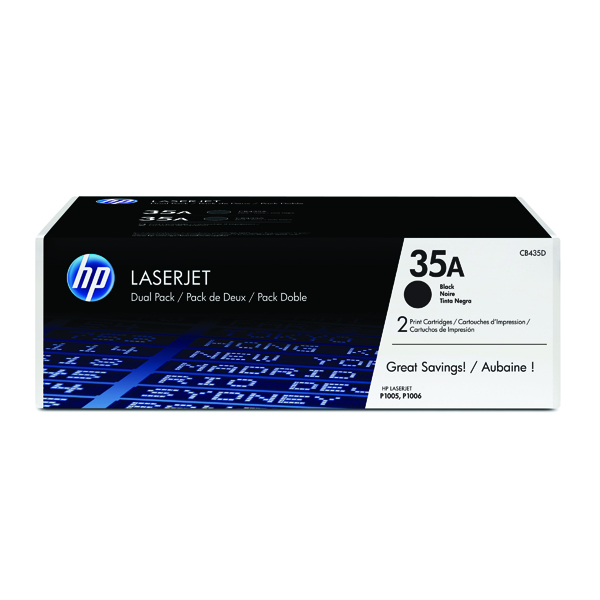 HP 35A Black Laserjet Toner Cartridge (Pack of 2) CB435AD