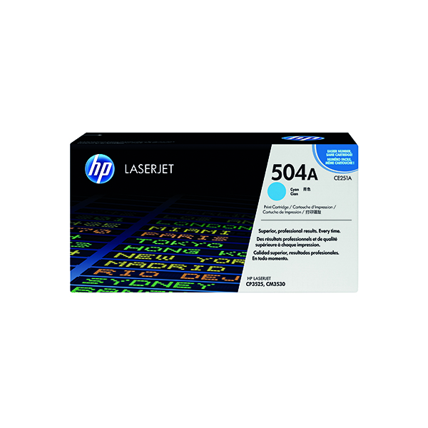 HP 504A Cyan Laserjet Toner Cartridge CE251A