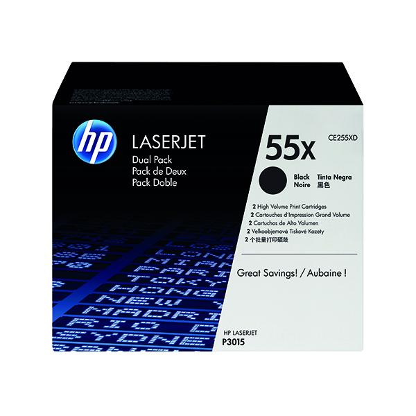 HP 55X Black High Yield Laserjet Toner Cartridge (Pack of 2) CE255XD