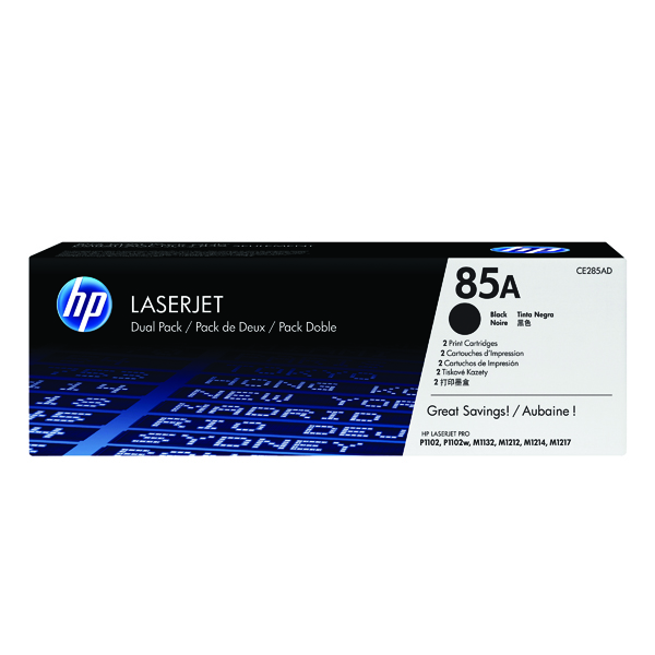 HP 85 Black Laserjet Toner Cartridge (Pack of 2) CE285AD
