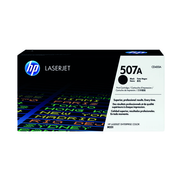 HP 507A Black Laserjet Toner Cartridge CE400A