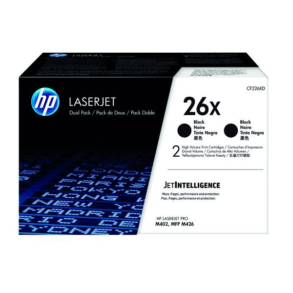 HP 26X High Yield Black Laserjet Toner Cartridge Twin Pack CF226XD
