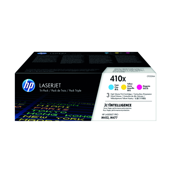 HP 410X High Yield Cyan Magenta Yellow Laserjet Toner Cartridges (Pack of 3) CF252XM
